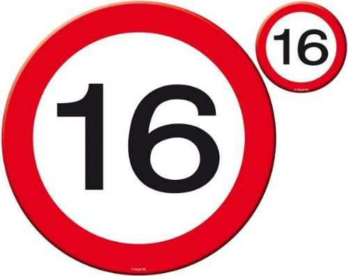 Traffic Sign 16th Party Place Mat & Coasters Birthday Tableware Table Disposable